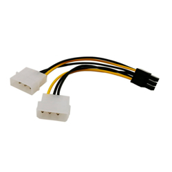 Powerkabel 2xMolex til 6 pin power PCI-e